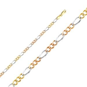 14K Tri Color 4.6mm Figaro 3+1 Concave Chain- 24""